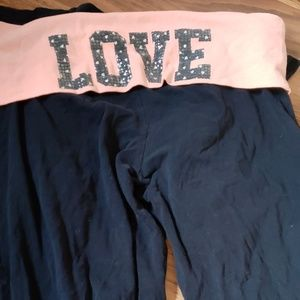 "Peach and black ""love"" yoga pants"